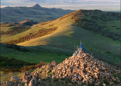sunrise at the ovoo - hustai national park - mongolia