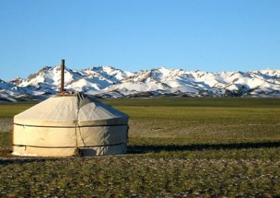 yurt view - khangai ranges - mongolia